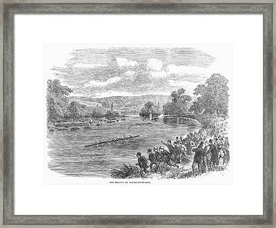 The Royal Henley Regatta At Henley-on Thames. Wood Engraving, English, 1869 Framed Print