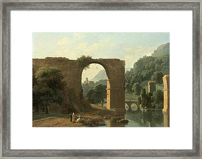 The Ruins Of The Bridge Of Augustus At Narni Framed Print by Jean-Victor Bertin