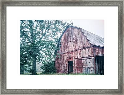 The Rural Life - Red Barn Landscape Framed Print by Gregory Ballos
