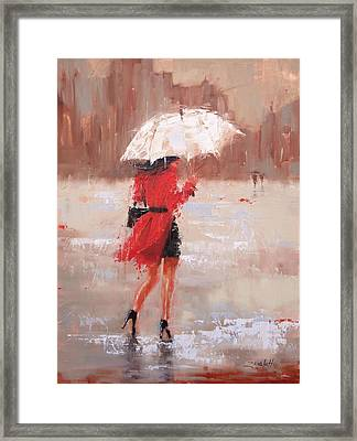 Framed Print featuring the painting The Rush by Laura Lee Zanghetti
