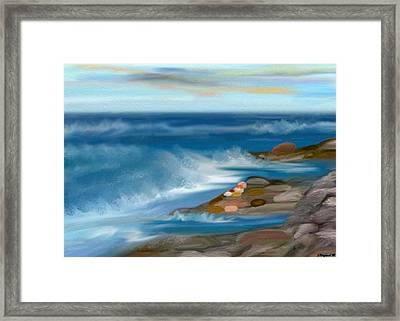 The Rush Of The Water Framed Print by Sher Magins
