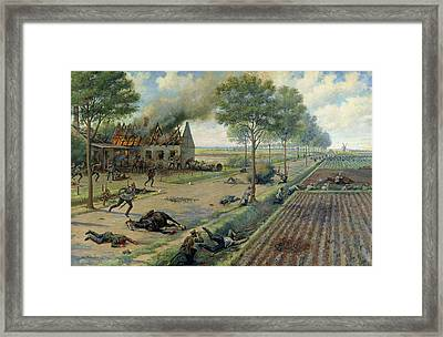 The Russian Cavalry Fighting The Germans In A Village In 1915 Framed Print by Viktor Viketyevich Masurovsky