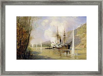 The Russian Destroyer Shutka Attacking A Turkish Ship On The 16th June 1877 Framed Print by Aleksei Petrovich Bogolyubov