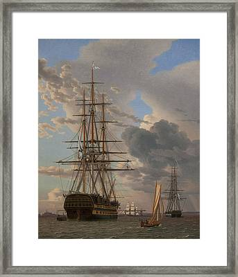 The Russian Ship Of The Line Asow And A Frigate At Anchor In The Roads Of Elsinore Framed Print