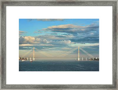 The Russky Bridge And Clouds Framed Print