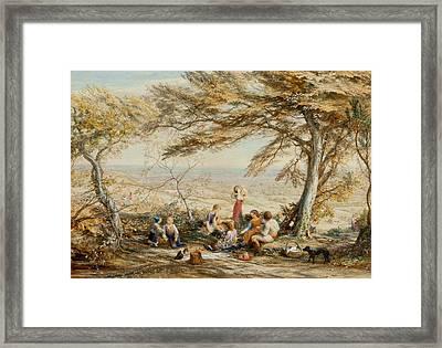 The Rustic Dinner Framed Print by Samuel Palmer