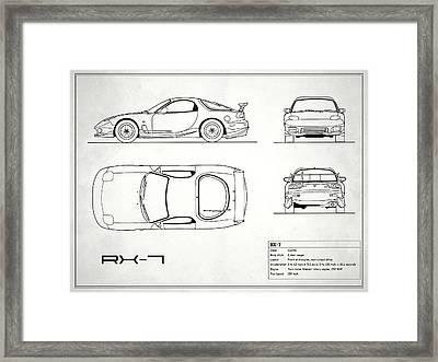 The Rx-7 Blueprint - White Framed Print