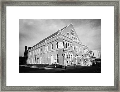 The Ryman Auditorium Former Home Of The Grand Ole Opry And Gospel Union Tabernacle Nashville Framed Print by Joe Fox