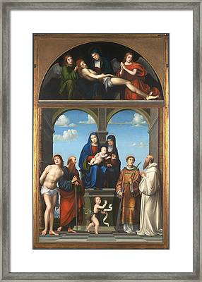 The Saint Anne Altarpiece From San Frediano Lucca Framed Print by Francesco Francia