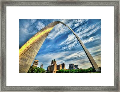 The Saint Louis Arch And City Skyline Framed Print by Gregory Ballos
