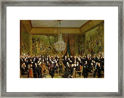 The Salon Of Alfred Emilien At The Louvre Framed Print by Francois Auguste Biard