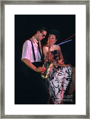 The Sax Man And The Girl Framed Print by Greg Kopriva