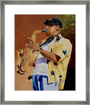 The Sax Player Framed Print by Jason M Silverman