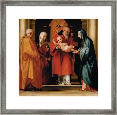 The Scene Of Christ In The Temple Framed Print by Fra Bartolommeo