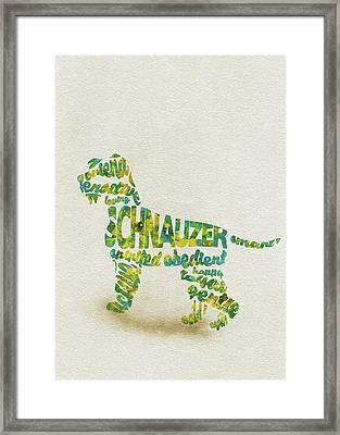 Framed Print featuring the painting The Schnauzer Dog Watercolor Painting / Typographic Art by Inspirowl Design