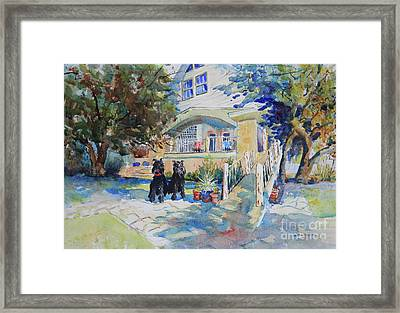The Schnauzer's Lake House Framed Print by Marsha Reeves