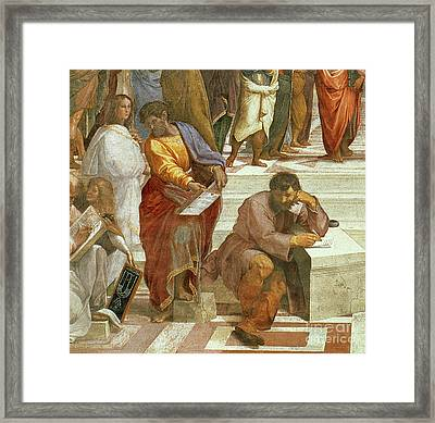 The School Of Athens, Detail Of The Figures On The Left Hand Side Framed Print by Raphael