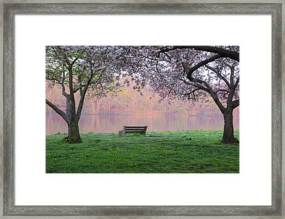 The Schuykill River At Kelly Drive In The Spring Framed Print