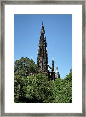 Framed Print featuring the photograph The Scott Monument In Edinburgh, Scotland by Jeremy Lavender Photography