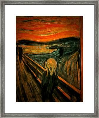 The Scream By Edvard Munch Revisited Framed Print by Leonardo Digenio