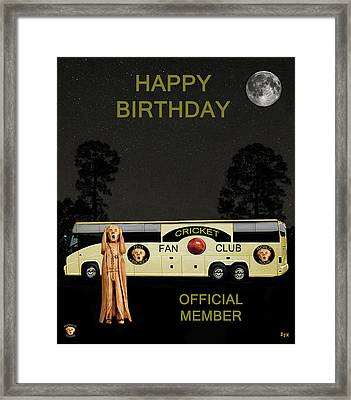 The Scream World Tour Cricket  Tour Bus Happy Birthday Framed Print