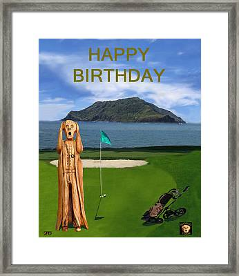 The Scream World Tour Golf  Happy Birthday Framed Print by Eric Kempson