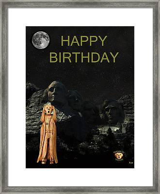The Scream World Tour Mount Rushmore Happy Birthday Framed Print by Eric Kempson