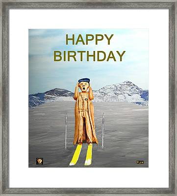 The Scream World Tour Skiing Happy Birthday Framed Print by Eric Kempson