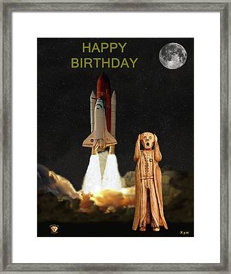 The Scream World Tour Space Shuttle Happy Birthday Framed Print by Eric Kempson