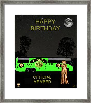 The Scream World Tour Tennis Tour Bus Happy Birthday Framed Print by Eric Kempson