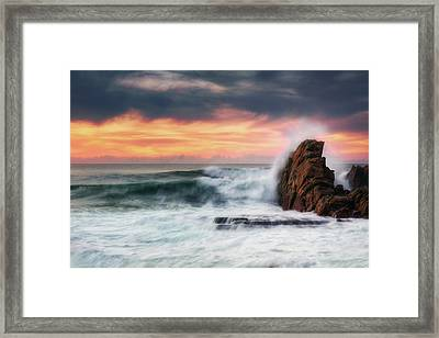 The Sea Against The Rock Framed Print