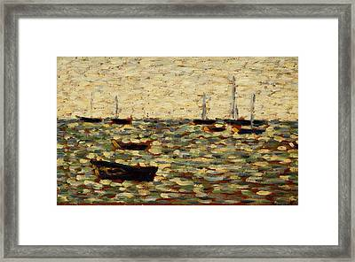 The Sea At Grandcamp Framed Print by Georges Pierre Seurat