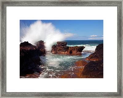 The Sea Explodes Framed Print by Mike  Dawson