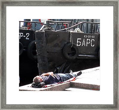 Framed Print featuring the photograph The Seaman On Rest by Yury Bashkin
