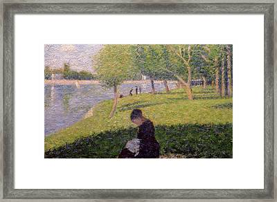 The Seamstress Or Sunday At The Grande Jatte Framed Print by Georges Pierre Seurat