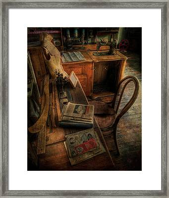 The Seamstress Will Be Back Shortly Framed Print
