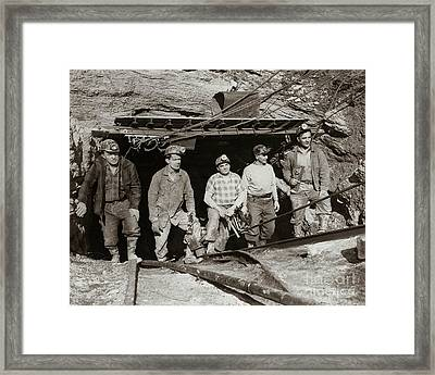 The Search And Retrieval Team After The Knox Mine Disaster Port Griffith Pa 1959 At Mine Entrance Framed Print