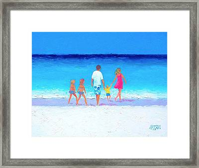 The Seaside Holiday - Beach Painting Framed Print by Jan Matson