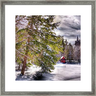 Framed Print featuring the photograph The Secluded Boathouse by David Patterson