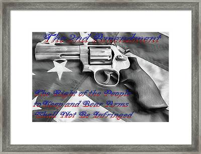 Framed Print featuring the digital art The Second Amendment Black And White by JC Findley