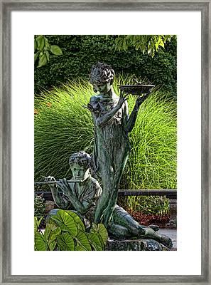 The Secret Garden Memorial Statue And Bird Bath Framed Print by Robert Ullmann