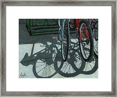 The Secret Meeting - Bicycle Shadows Framed Print by Linda Apple