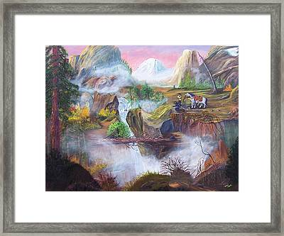 Framed Print featuring the painting The Seekers At Saddle Rock by Myrna Walsh
