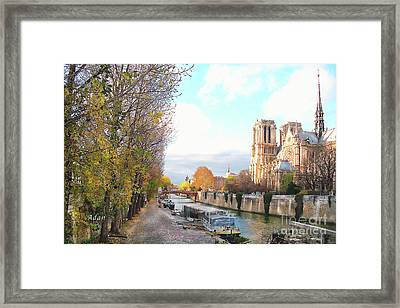 The Seine And Quay Beside Notre Dame, Autumn Framed Print