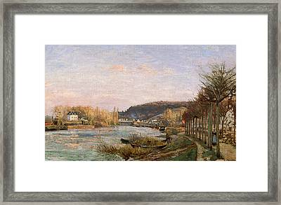 The Seine At Bougival Framed Print by Camille Pissarro