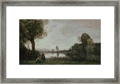 The Seine At Chatou Framed Print by Jean-Baptiste Camille Corot