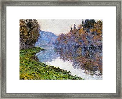 The Seine At Jenfosse Framed Print by Claude Monet