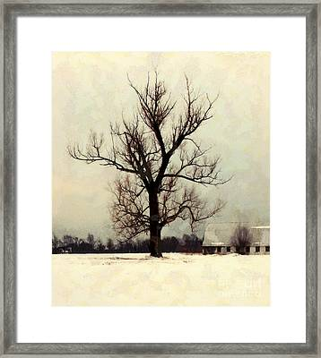 Framed Print featuring the photograph The Sentinel - Lone Winter Tree by Janine Riley