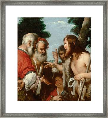 The Sermon Of St. John The Baptist Framed Print by Bernardo Strozzi