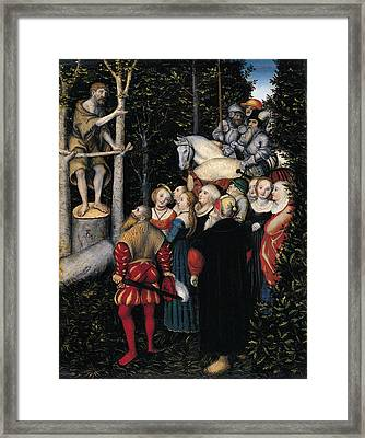The Sermon Of St. John The Baptist Framed Print by Lucas Cranach the Elder